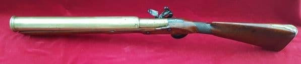 A rare Napoleonic brass barrelled Naval Flintlock blunderbuss or Grenade launcher. C,1800. Ref 1498
